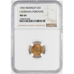 1903 $1 McKinley Louisiana Purchase Commemorative Gold Coin NGC MS64