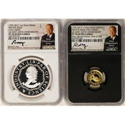 1792-2017 Half Disme 1/10 oz. Gold & 1oz. Silver Medals NGC PF70 W/ Moy Signature Set