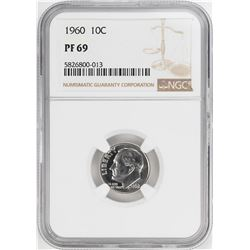 1960 Proof Roosevelt Dime Coin NGC PF69