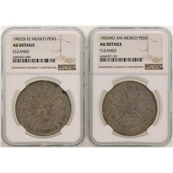Lot of 1902ZS & 1901MO Mexico Pesos Silver Coins NGC Graded AU Details