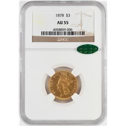 1878 $3 Indian Princess Head Gold Coin NGC AU55 CAC