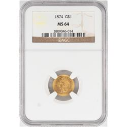 1874 $1 Indian Princess Head Gold Dollar Coin NGC MS64