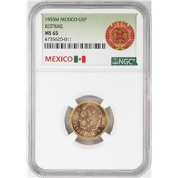 1955M Mexico 5 Pesos Gold Coin NGC MS65