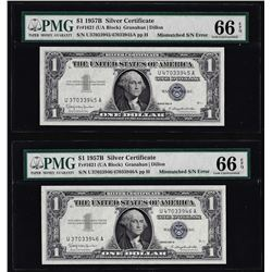 (2) Consecutive 1957B $1 Silver Certificate Notes Mismatch Serial Numbers PMG Gem Unc. 66EPQ