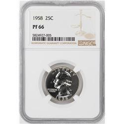1958 Proof Washington Quarter Coin NGC PF66
