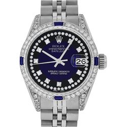 Rolex Ladies Stainless Steel Diamond MOP Blue Vignette Diamond Datejust Wristwatch
