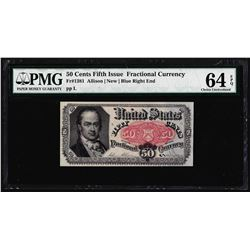 1874 50 Cent Fifth Issue Fractional Currency Note PMG Choice Uncirculated 64EPQ