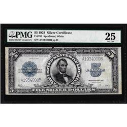 1923 $5 Porthole Silver Certificate Note Fr.282 PMG Very Fine 25