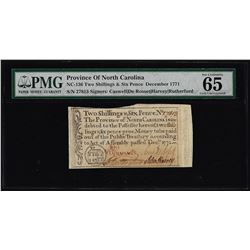 1771 North Carolina Province 2 Shillings & 6 Pence Colonial Note PMG Gem Unc. 65EPQ
