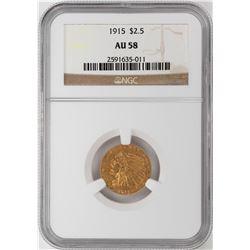 1915 $2 1/2 Indian Head Quarter Eagle Gold Coin NGC AU58
