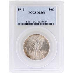 1941 Walking Liberty Half Dollar Coin PCGS MS64