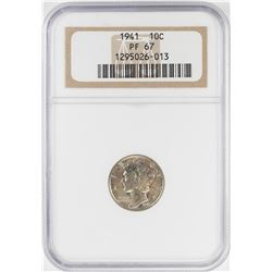 1941 Proof Mercury Dime Coin NGC PF67