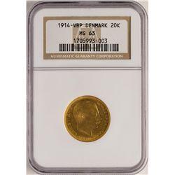 1914-VBP 20 Kroner Denmark Gold Coin NGC MS63