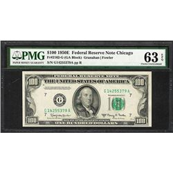 1950E $100 Federal Reserve Note Chicago Fr.2162-G PMG Choice Uncirculated 63EPQ