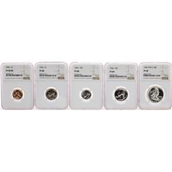 1956 (5) Coin Proof Set Graded NGC PF68