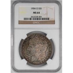 1904-O $1 Morgan Silver Dollar Coin NGC MS64 Nice Toning