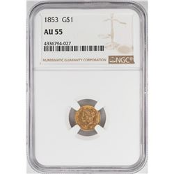 1853 $1 Liberty Head Gold Dollar Coin NGC AU55