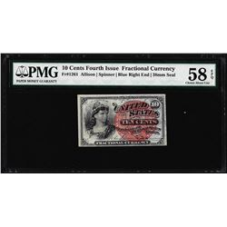 March 3, 1863 Ten Cents Fourth Issue Fractional Note Fr.1261 PMG Choice About Unc 58EPQ