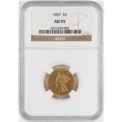 1857 $3 Indian Princess Head Gold Coin NGC AU55