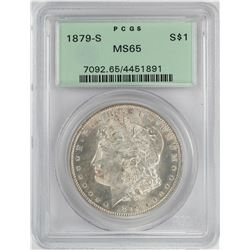 1879-S $1 Morgan Silver Dollar Coin PCGS MS65 OGH