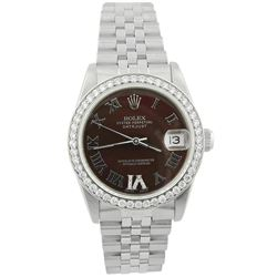 Rolex Ladies Datejust Stainless Steel 31mm Chocolate Roman Diamond Dial Watch