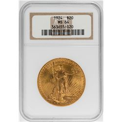 1924 $20 Saint Gaudens Double Eagle Gold Coin NGC MS64