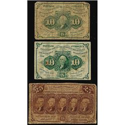 Lot of (3) First Issue Fractional Currency Notes