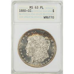 1880-CC $1 Morgan Silver Dollar Coin ANACS MS63 PL Nice Toning