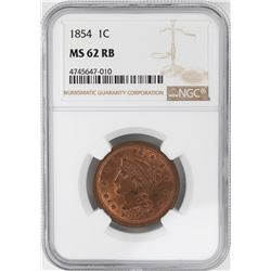 1854 Braided Hair Large Cent Coin NGC MS62 RB