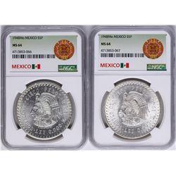 Lot of (2) 1948Mo Mexico 5 Pesos Silver Coins NGC MS64