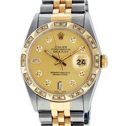 Rolex Mens Two Tone 14K Champagne Diamond Pyramid Bezel Datejust Watch