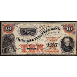 1860 $10 Miners & Planters Bank North Carolina Obsolete Note