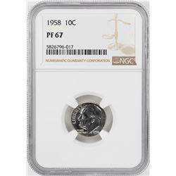 1958 Proof Roosevelt Dime Coin NGC PF67