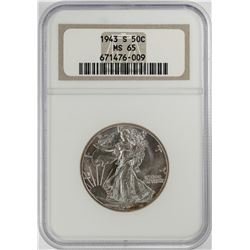 1943-S Walking Liberty Half Dollar Coin NGC MS65