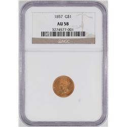 1857 $1 Indian Princess Head Gold Dollar Coin NGC AU58