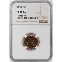1958 Proof Lincoln Wheat Cent Coin NGC PF68RD