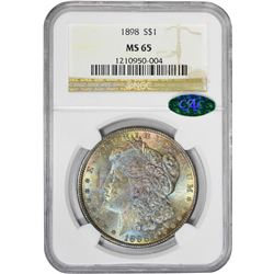 1898 $1 Morgan Silver Dollar Coin NGC MS65 CAC Amazing Toning