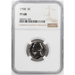 1958 Proof Jefferson Nickel Coin NGC PF68
