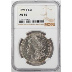 1894-S $1 Morgan Silver Dollar Coin NGC AU55