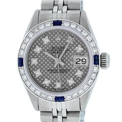Rolex Ladies Stainless Steel Slate Grey Stamp Diamond & Sapphire Datejust Wristwatch