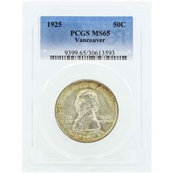 1925 Vancouver Commemorative Half Dollar Coin PCGS MS65