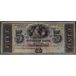 1800 $5 Citizens Bank of Louisiana, New Orleans Obsolete Note