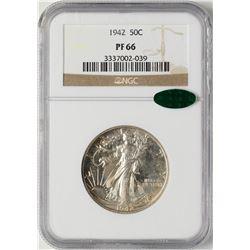 1942 Proof Walking Liberty Half Dollar Coin NGC PF66 CAC