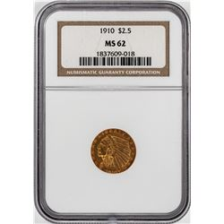 1910 $2 1/2 Indian Head Quarter Eagle Gold Coin NGC MS62