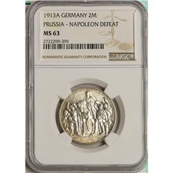 1913A Germany 2 Marks Prussia - Napoleon Defeat NGC MS63