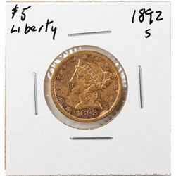 1892-S $5 Liberty Head Half Eagle Gold Coin