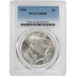 1926 $1 Peace Silver Dollar Coin PCGS MS65