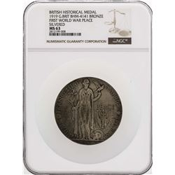 1919 Great Britain BHM-4141 Bronze Medal First World War Peace Silvered NGC MS63