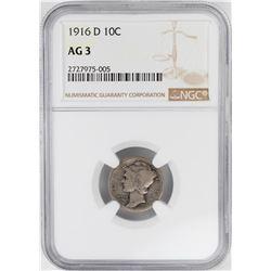 1916-D Mercury Dime Coin NGC AG3