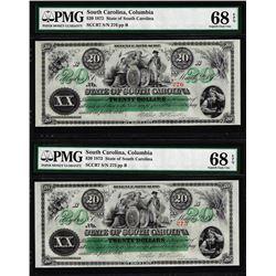Lot of (2) Consec. 1872 $20 South Carolina Obsolete Notes PMG Superb Gem Unc. 68EPQ